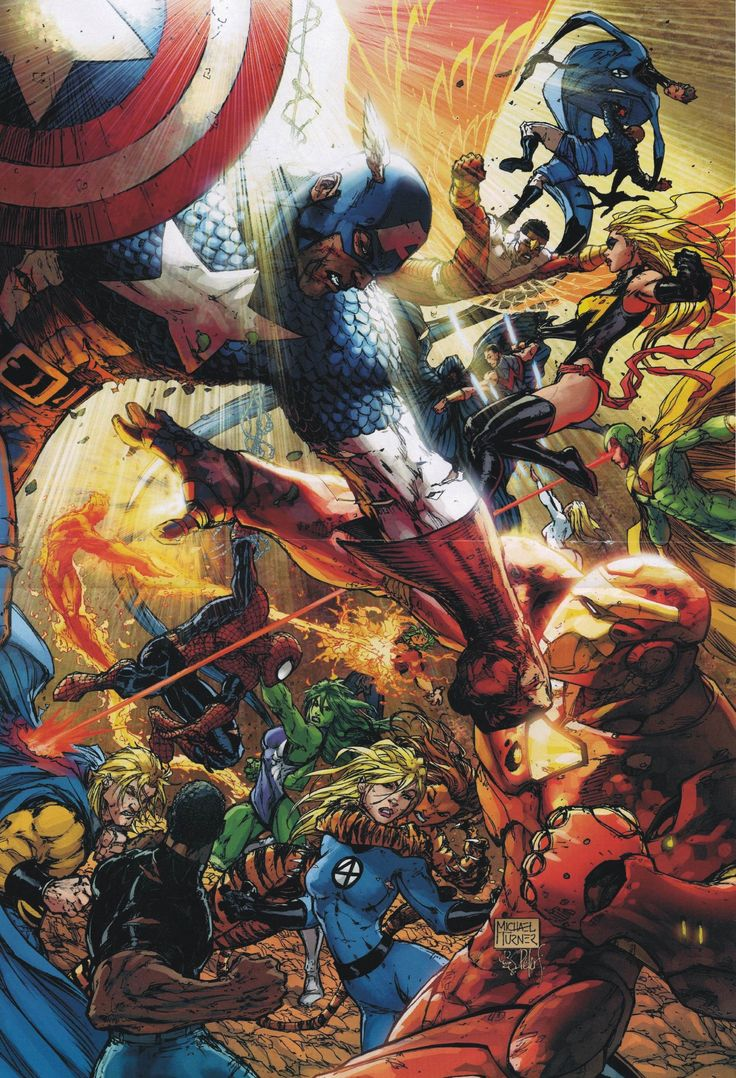 The Avengers:Civil War by Michael Turner. The Civil War would split the Avengers apart and put them in conflict with one another. The events of this conflict tore out the heart of the team and would test the team to seriously consider if the group even had a future.