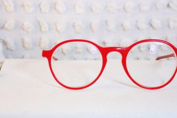 Log Lady Round Tomato Red 1970's Horn Rim Eyeglasses Thick Modern Circle Frame by Apollo Optik