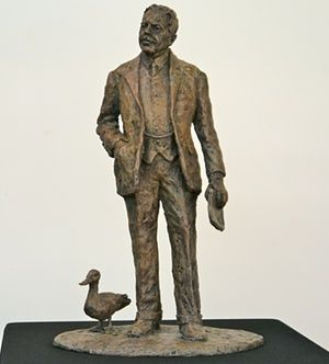a statue of Sir Nigel Gresley and his problematic Mallard.