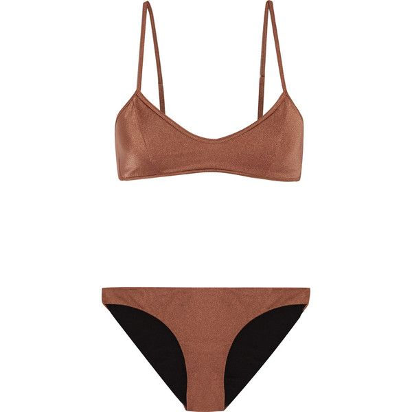 Melissa Odabash Sicily metallic bikini ($115) ❤ liked on Polyvore featuring swimwear, bikinis, tan, metallic swimwear, bikini two piece, melissa odabash, tan bikini and metallic bikini