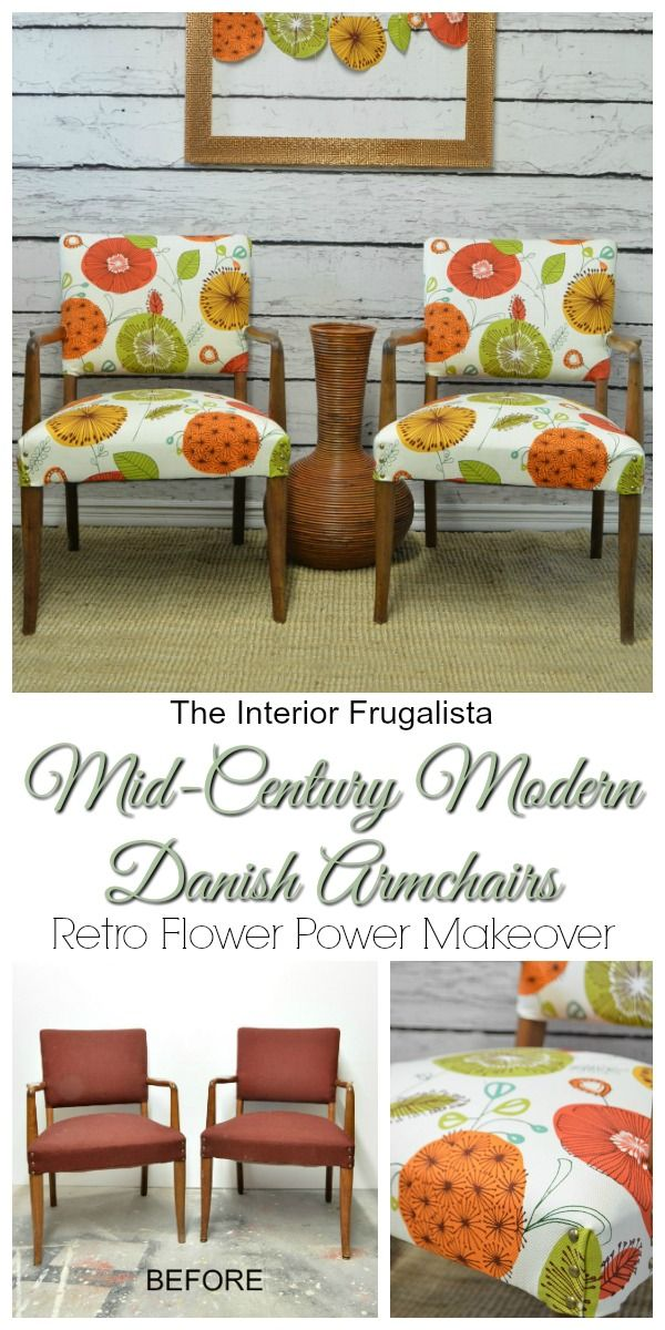 Mid-Century Modern Danish Armchair Makeover Before and After | The Interior Frugalista