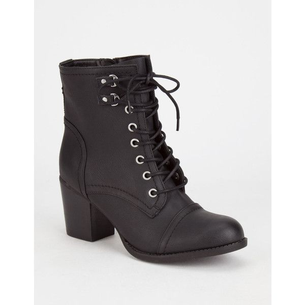 Madden Girl Westmont Womens Boots ($90) ❤ liked on Polyvore featuring shoes, boots, ankle boots, black, black ankle boots, military boots, army boots, bootie and black bootie