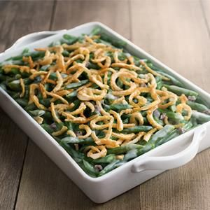green bean with French fried onions Check out this great recipe from French's: French's Green Bean Casserole!