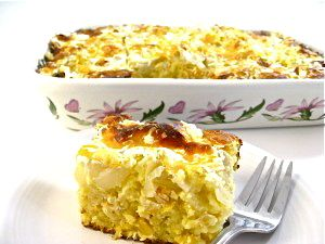 The Most Decadent Cornbread Casserole Ever, Made Skinny! A wonderful side dish for chicken, ham, beef, turkey or chili. Each serving has 205 calories, 5 grams of fat and 5 Weight Watchers POINTS PLUS. http://www.skinnykitchen.com/recipes/the-most-decadent-cornbread-casserole-ever-made-skinny/