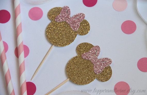 Minnie Mouse Inspired Cupcake Toppers Pink and by TopperAndTwine