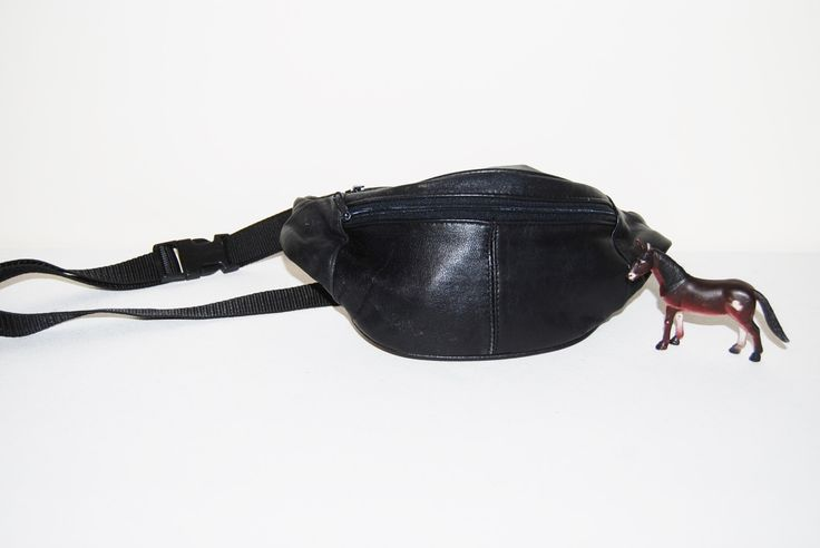 Fanny Pack Black Hipster Black Leather by CheekyVintageCloset on Etsy
