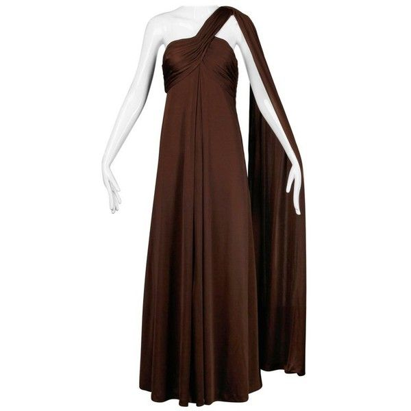 Preowned Estevez Vintage 1970s Brown Slinky Jersey Knit One Shoulder... (1.940 BRL) ❤ liked on Polyvore featuring dresses, gowns, brown, maxi dress, one shoulder maxi dress, vintage gowns, vintage maxi dresses, jersey knit maxi dress and one shoulder dress