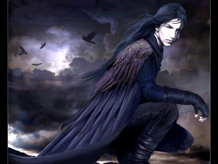 dark wings birds clouds dark gothic male sky wings