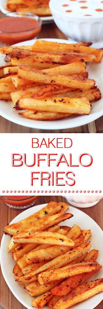 Baked Buffalo Fries w Ranch & Blue Cheese Dipping Sauces #buffalofries #homemadefries #potatoes