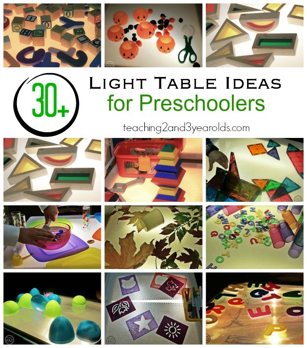 Light Table Activities for Preschoolers in the classroom - Teaching 2 and 3 Year Olds