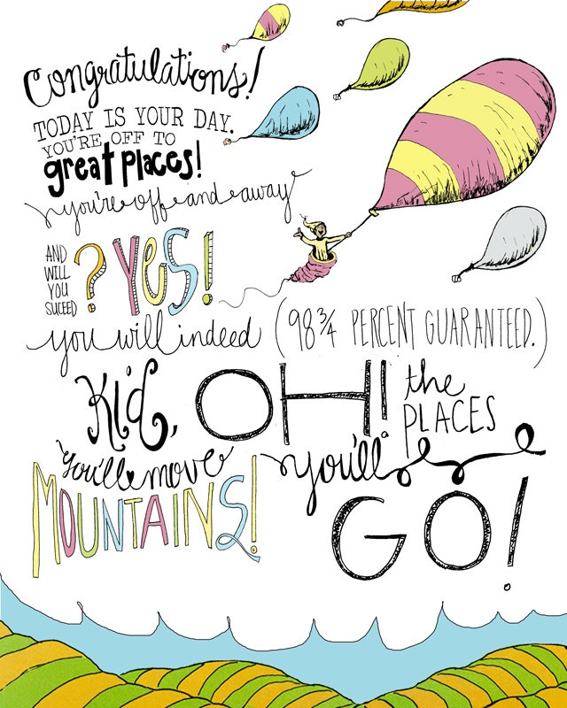 dr seuss oh the places you ll go 8x10 wall print hand drawn