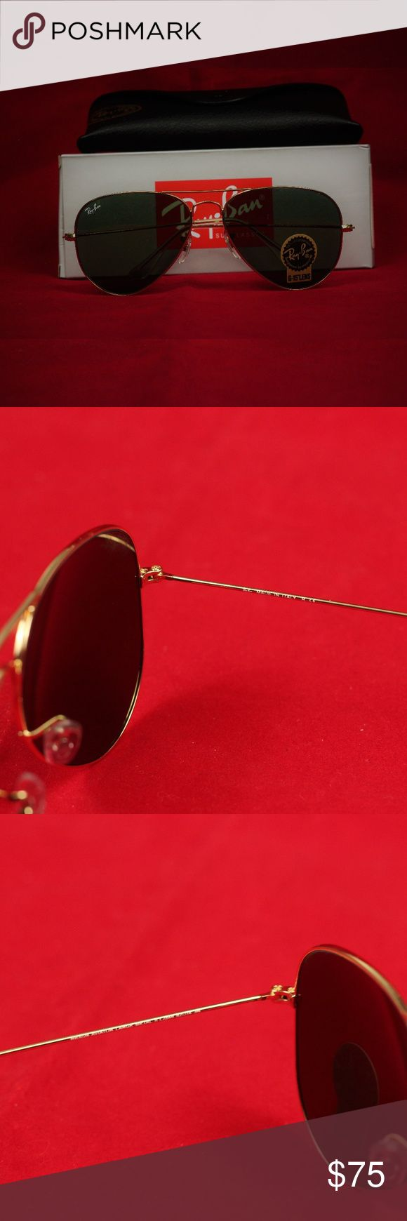 Authentic Ray Ban Aviator Sunglasses Brand New! 100% Authentic Guaranteed or your money back!   Size: 58 mm Lens (Perfect for smaller faces) 62 mm Lens (Perfect for larger heads)  Color: Gold frame, Green G-15 Lens  Includes all documentation, box, cleaning cloth, case, and sunglasses Ray-Ban Accessories Sunglasses