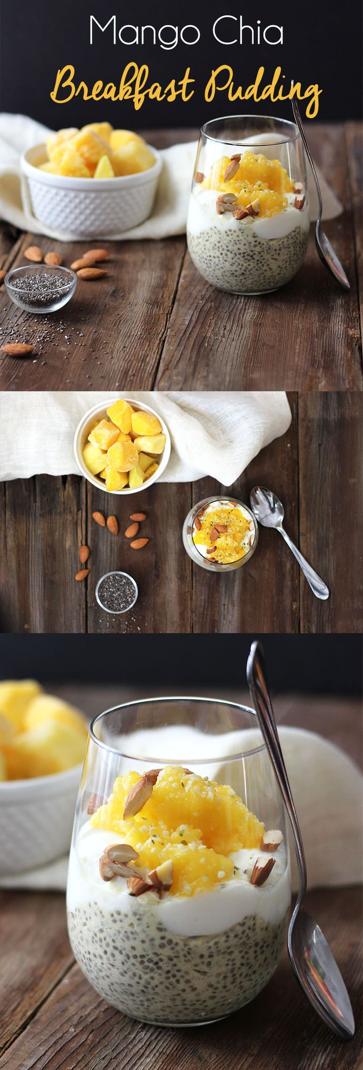 Mango Chia Breakfast Pudding #Healthy #Vegan - Perfect for busy mornings!