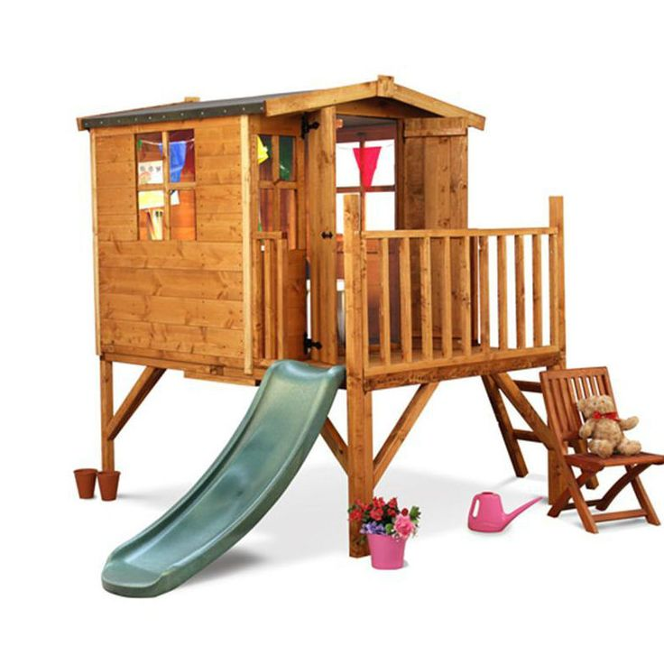 Childrens Wooden Outdoor Playhouse Slide Wendy House Raised Tower Playground Kid