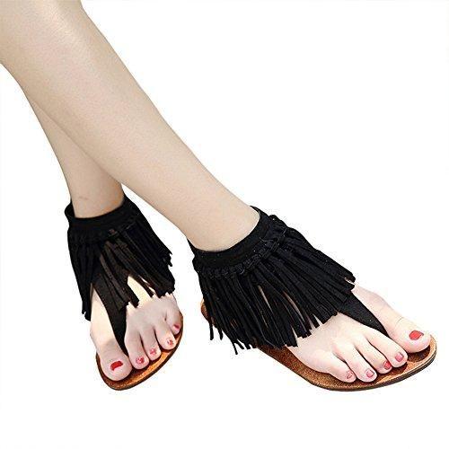 Oferta: 14.99€. Comprar Ofertas de Odema Verano Correa de tobillo Borlas Mujer plana sandalias barato. ¡Mira las ofertas!