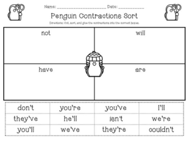 how to explain contractions to first graders