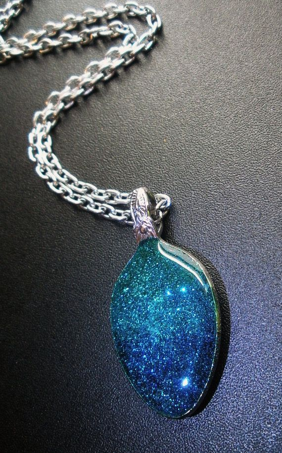 Glittery Gradient Recycled Spoon Pendant Necklace