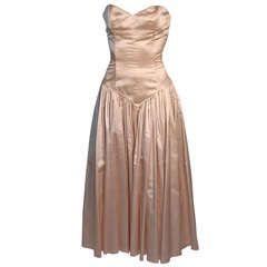 norma kamali 1980's silk dress with corset bodice  silk