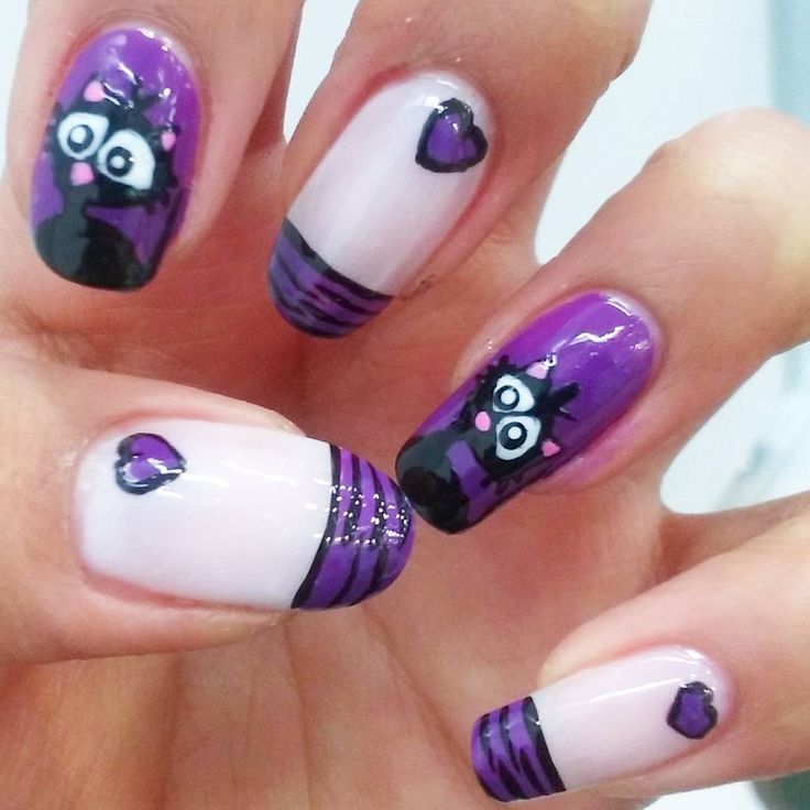 #CatNails #PurpleNails #FrenchNails