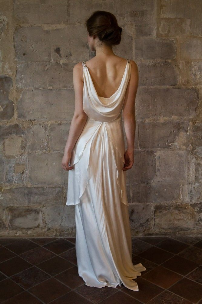 v neck silk satin wedding dress with draped low back