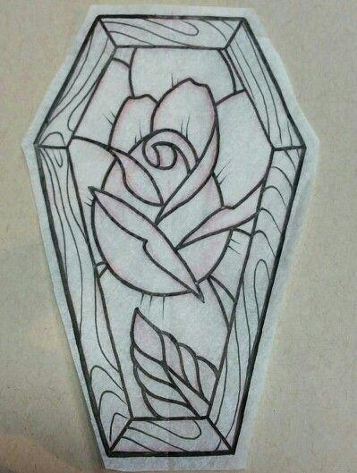Coffin and rose tattoo idea