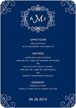 Monograms are the classic wedding day decor. We love the timeless accents that surround and edge this wedding reception menu card.