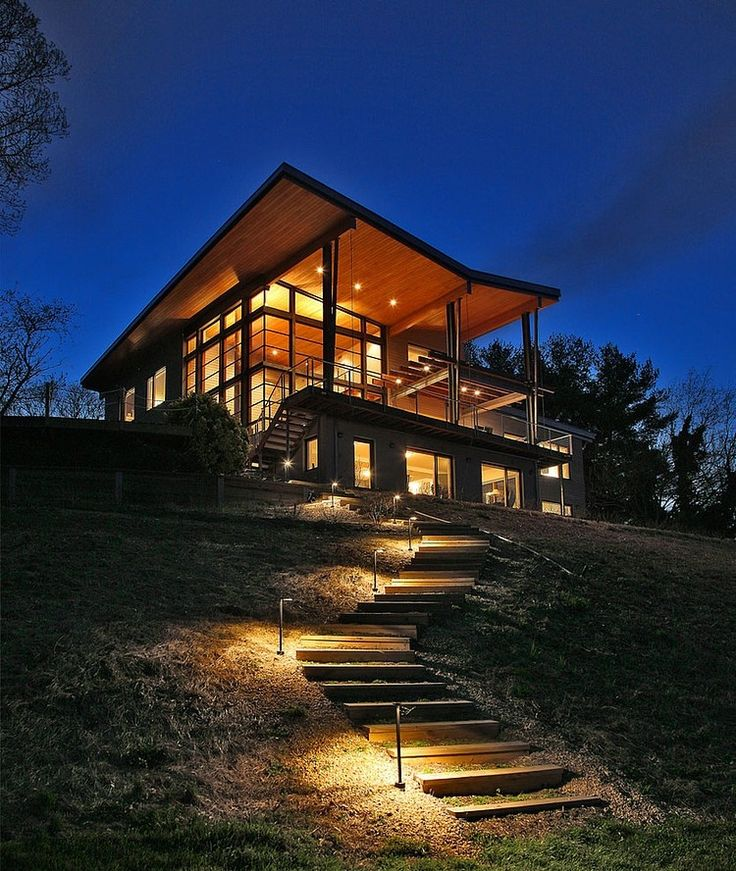 Perfect Heavenly Greenhouse Design With Wooden Deck: Romantic Contemporary House  Design Night View Picture
