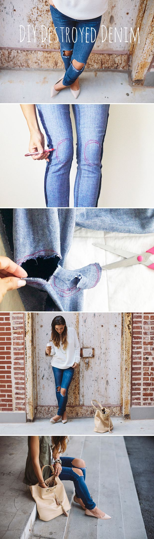 DIY destroyed denim jeans. Don't over pay for trendy jeans when you can make your own with an old pair! Instructions here.