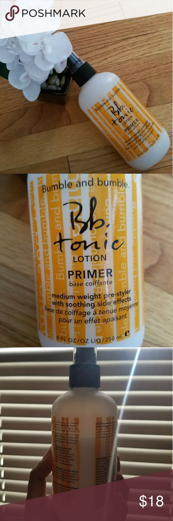 Bumble and Bumble Tonic Lotion Bb tonic lotion primer spray, smells amazing! Leaves hair so soft and helps minimize frizz when air drying -- at least in my case. I have medium length hair, color processed, and layered.  Bottle is 2/3 full put of 8 fl oz. Sephora Makeup