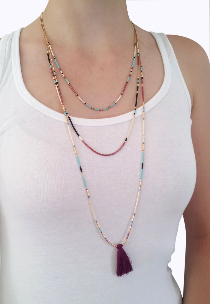 Sautoir chaine multi-rangs avec perles Miyuki et pompon bordeaux : Collier par coupsdecoeurdelo