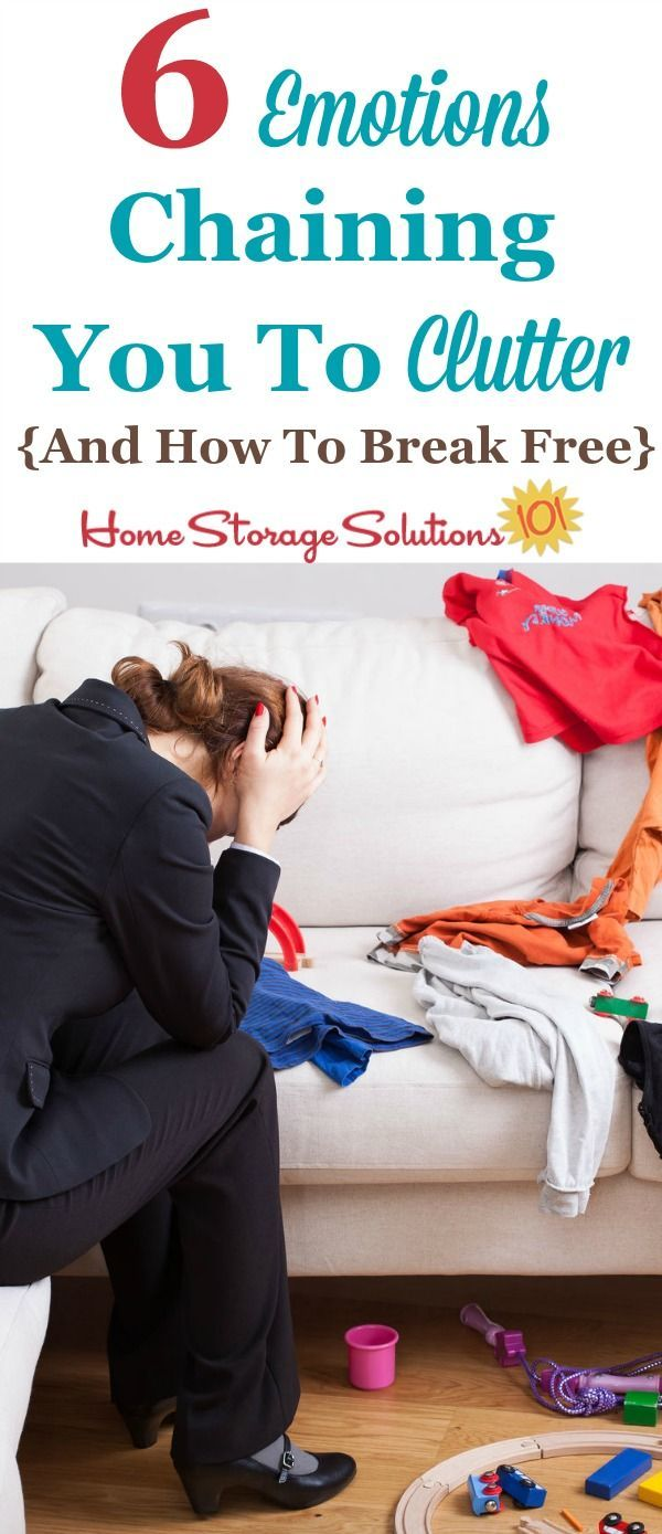 Do you have trouble letting go of your clutter? Here are 6 different emotions that could be holding you back, and  tips for how to break free of those feelings and get rid of your stuff. {on Home Storage Solutions 101}
