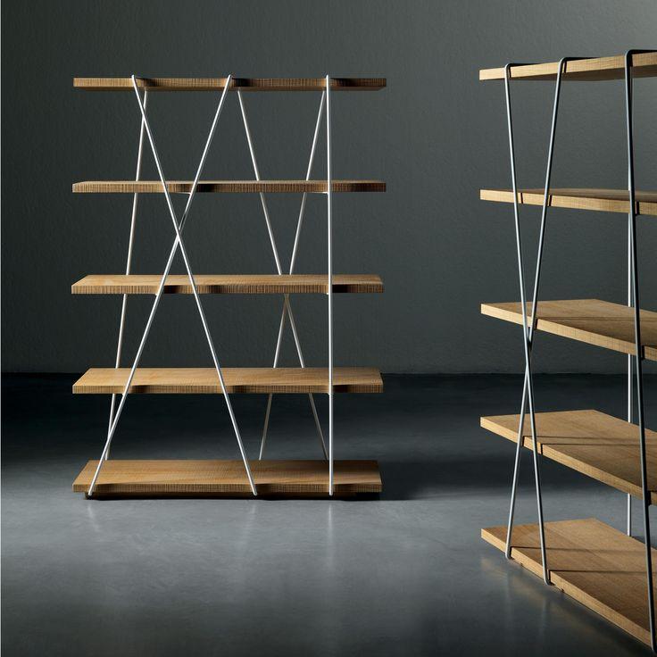 Bookcase in metal and wood mod. Matassa, Miniforms. // Biblioteca en metal y madera mod. Matassa, Miniforms. // Libreria in metallo e legno mod. Matassa, Miniforms. #bookcase #biblioteca #libreria #metal #metal #metallo #wood #madera #legno #miniforms