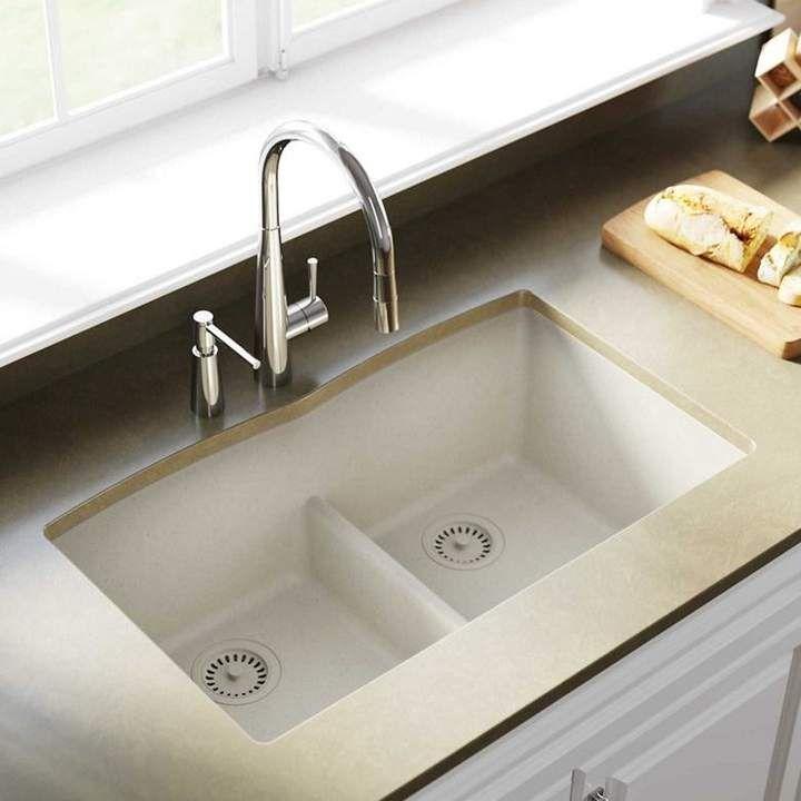 Quartz Classic 33 L X 19 W Double Basin Undermount Kitchen Sink With Aqua Divide Undermount Kitchen Sinks Farmhouse Sink Kitchen Single Bowl Kitchen Sink
