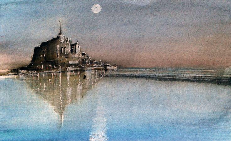 Mont Sain Michel, acquerello e matita