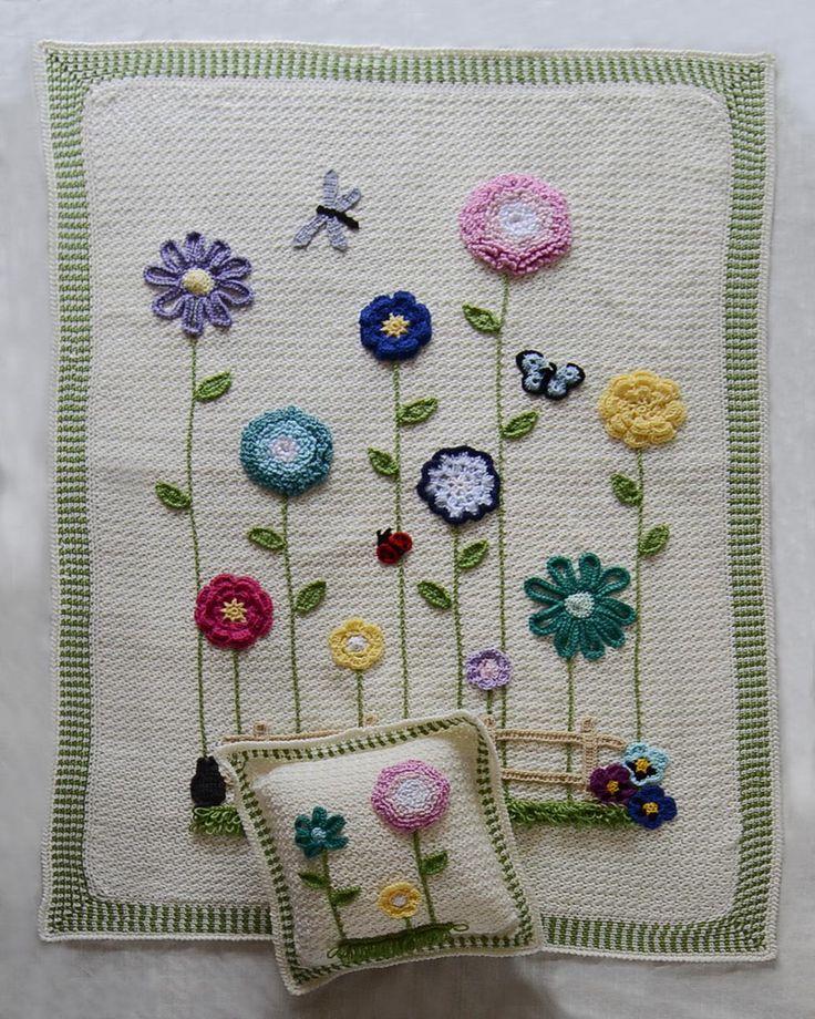 Pretty inspiration :: Field of Flowers Afghan & Pillow Set, Maggie's Crochet.  (Pattern not free.)  #crochet #blanket #throw