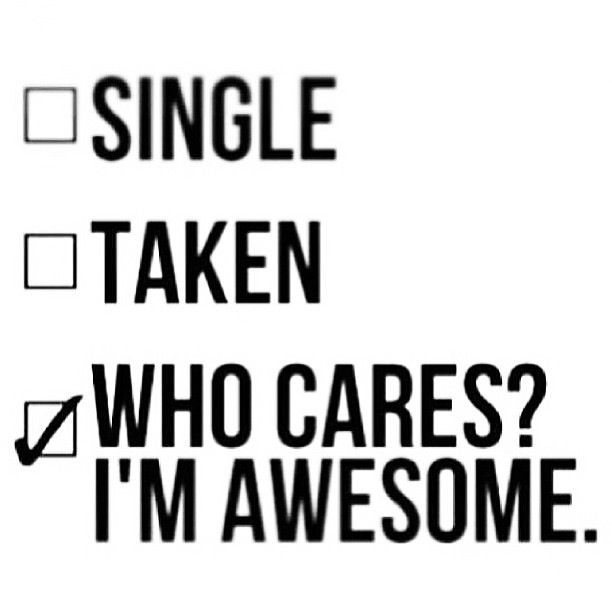 Single? Taken? Who Cares? I'm AWESOME | Just watch and smile or LOL! | Pinterest | Who cares ...