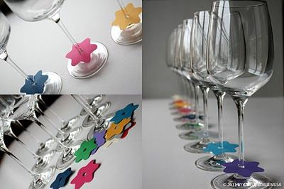 Tired of remembering where you placed your drink? Wine glass markers eliminate that problem.