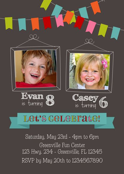 boy+and+girl+combined+birthday+invitations | Joint Twin Birthday Invitation - Bunting