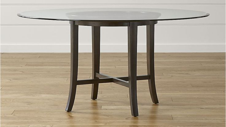 """Halo Ebony Round Dining Table with 60"""" Glass Top 