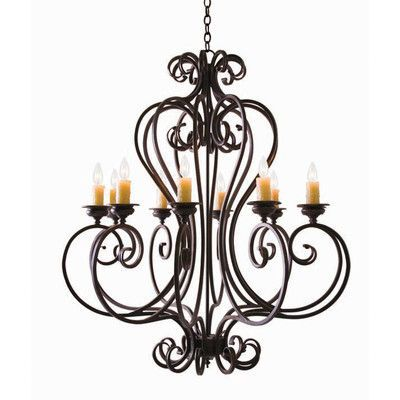 2nd Ave Design Fernando 10-Light Candle-Style Chandelier Finish: Antiquity Premium, Shade: Cream Silk Pleat