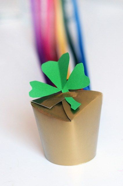 Hide pots of gold around the house with this cute craft from Willowday. All you need to pull it off is a paper cup and some colorful ribbons.