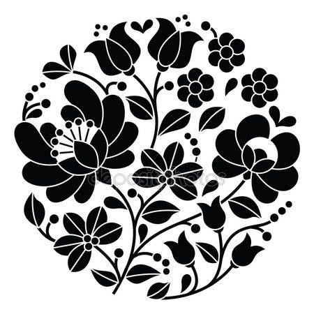 Скачать - Kalocsai черная вышивка - Венгерский круглый цветочный узор народных — стоковая иллюстрация #72389287