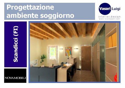 Zona office living con struttura e frontali in laminato termostrutturato colore olmo bianco e tortora opaco.