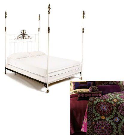 Ženský Anthropologie postel s nebesy (949,95 dolarů) dostane světskou aktualizace s Natori Hedvábné Suzani prádlo (699,99 dolarů).