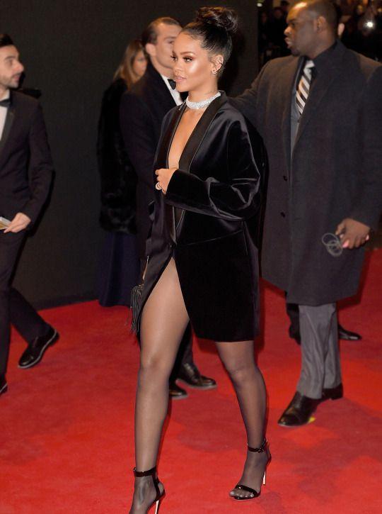 Rihanna black lace dress x factor