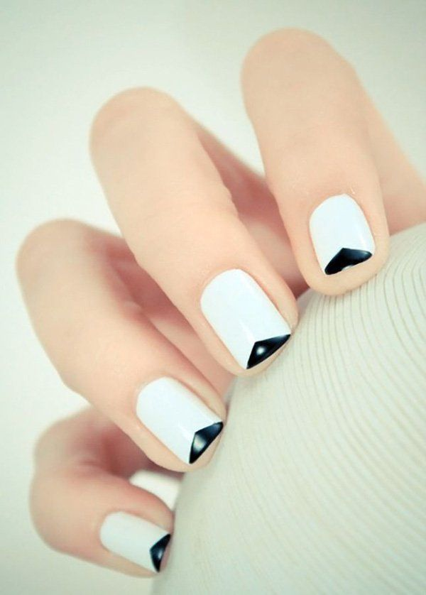 Simplistic yet out of the box looking French tips. The nails are coated with plain white polish as base and tipped with thin black polish in a reverse v shape.