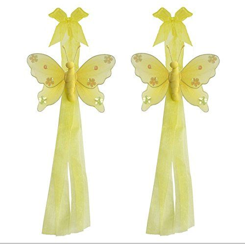 Butterfly Curtain Tiebacks Yellow Jewel Nylon Butterflies Pair Set Decorations Window Treatment Holdback Sheer Drapes Holder Drapery Tie Back Baby Nursery Bedroom Girl Room Kid Decor Home Bathroom DIY * Details can be found by clicking on the image.