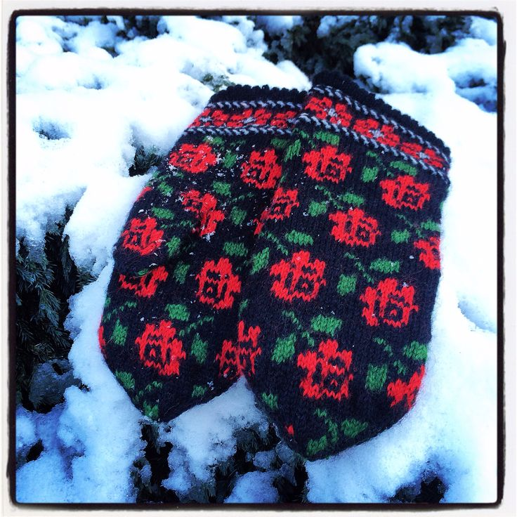 knitted mittens with roses. knit like a latvian