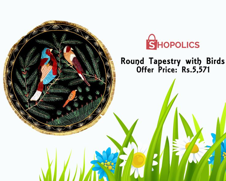 Bring #Round #Tapestry with #Birds to your #home. The particulars of this #beautiful #tapestry can be stated as: #Dimensions: 24 x 24 in , #Material: #Silk Shop now:  https://goo.gl/ujHziy
