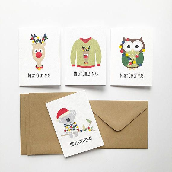 This pack contains 4 Assorted Mini Gift Christmas Cards with Brown Kraft Envelopes featuring an Ugly Christmas Sweater / Jumper, Koala with Xmas Lights, Owl with Christmas Lights and Reindeer (Rudolph). These are great to attach to presents for family, friends, neighbours etc. This